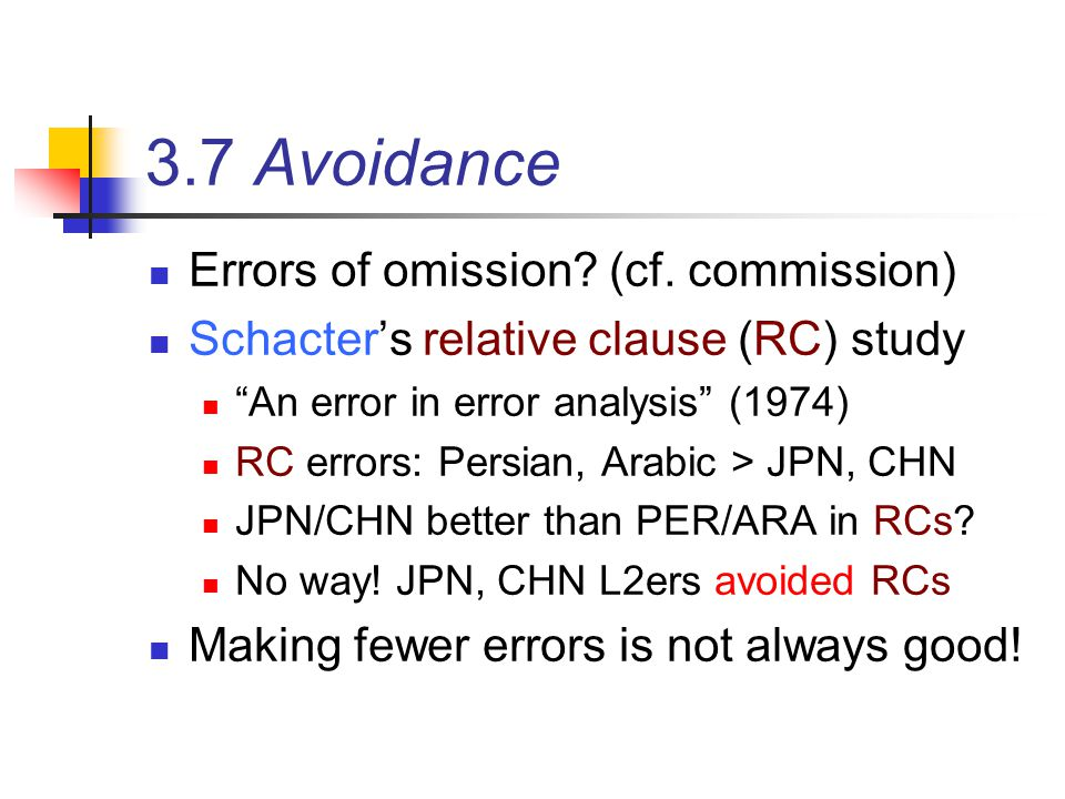 3.7 Avoidance Errors of omission (cf. commission)