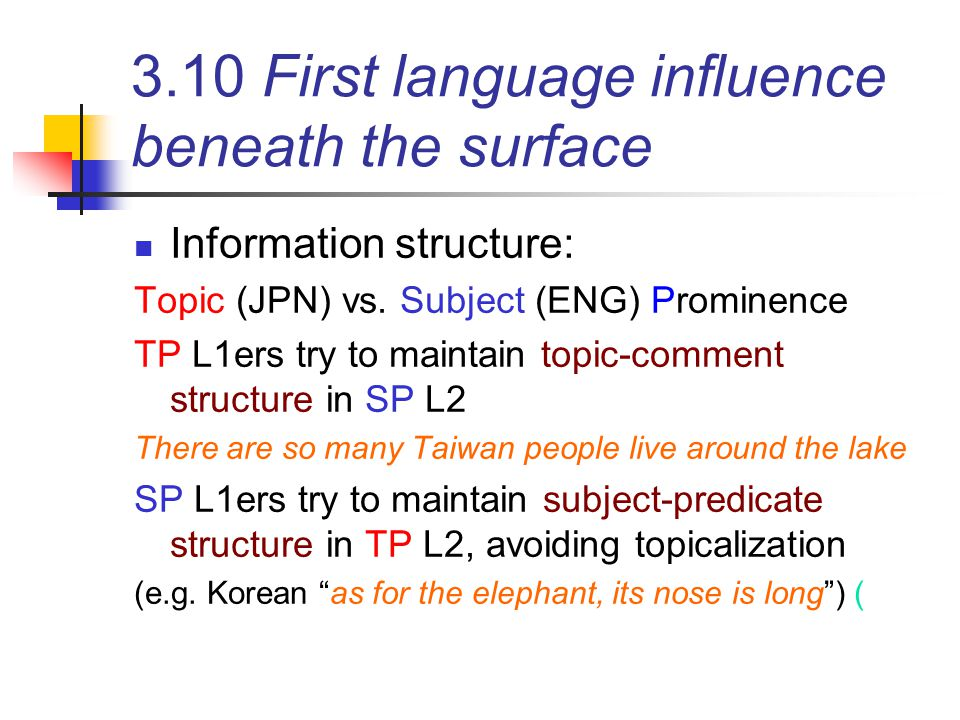 3.10 First language influence beneath the surface
