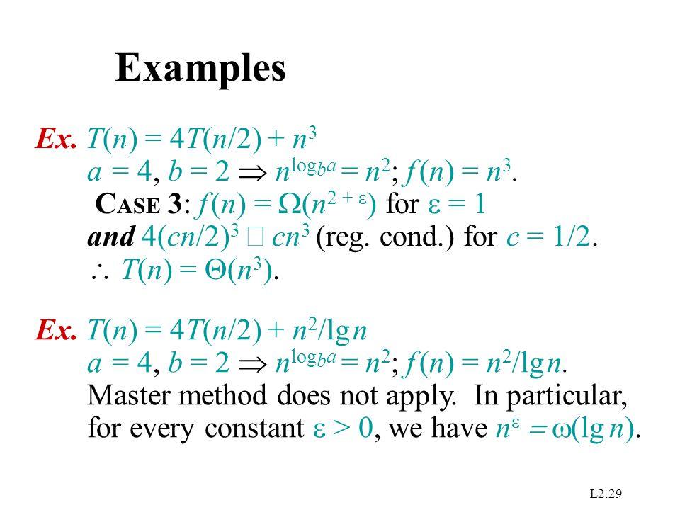 Examples Ex. T(n) = 4T(n/2) + n3