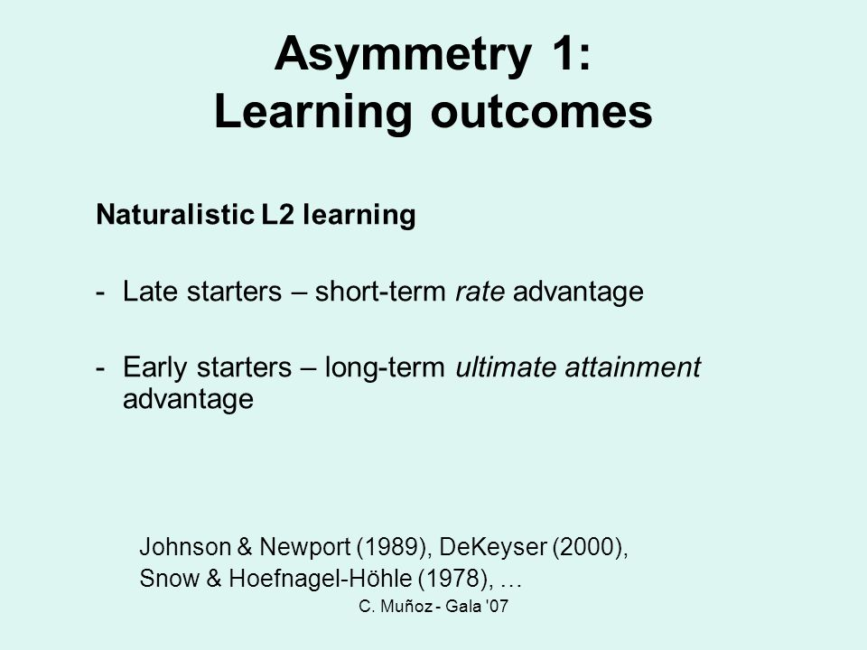 Asymmetry 1: Learning outcomes