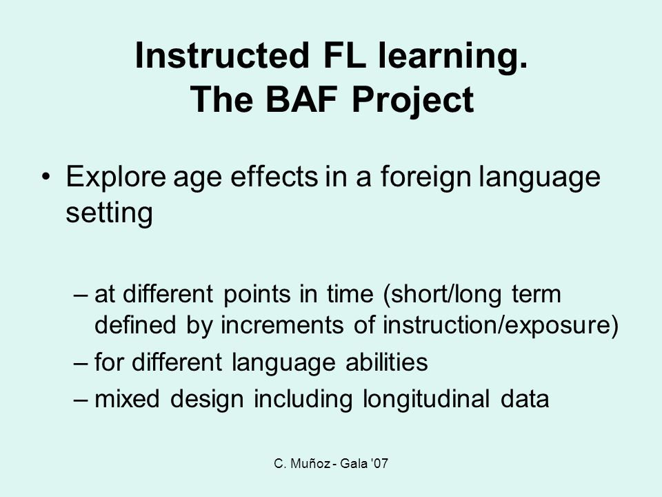 Instructed FL learning. The BAF Project