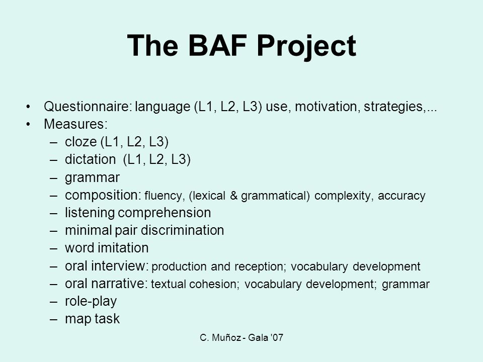 C. Muñoz - Gala 07 The BAF Project. Questionnaire: language (L1, L2, L3) use, motivation, strategies,...