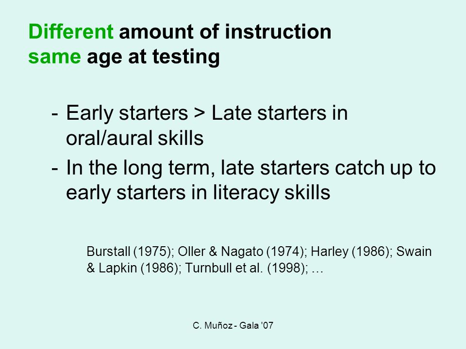 Different amount of instruction same age at testing