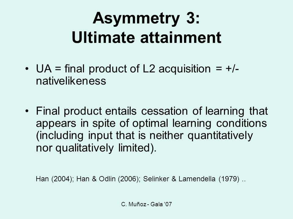 Asymmetry 3: Ultimate attainment