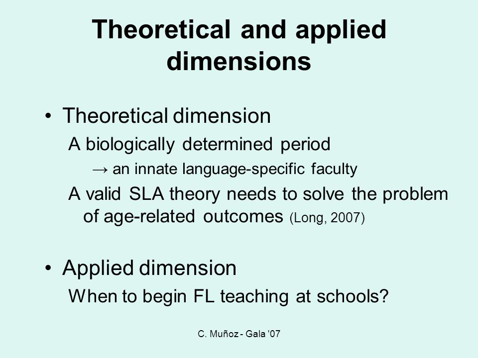 Theoretical and applied dimensions