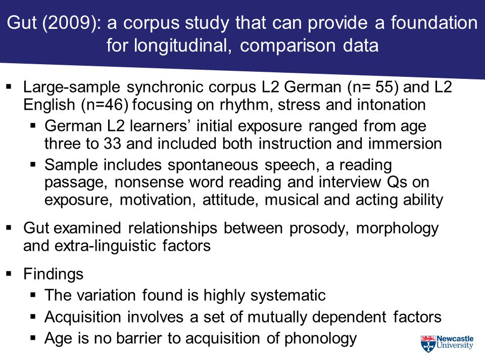 Gut (2009): a corpus study that can provide a foundation for longitudinal, comparison data