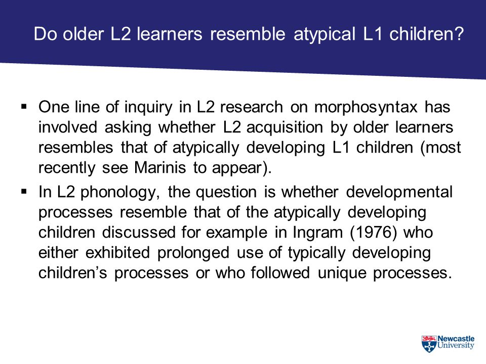 Do older L2 learners resemble atypical L1 children