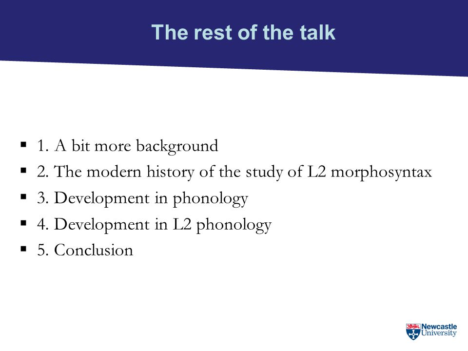 The rest of the talk 1. A bit more background