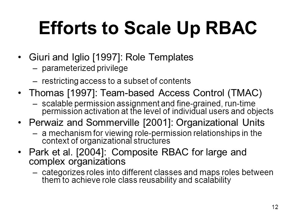 Efforts to Scale Up RBAC