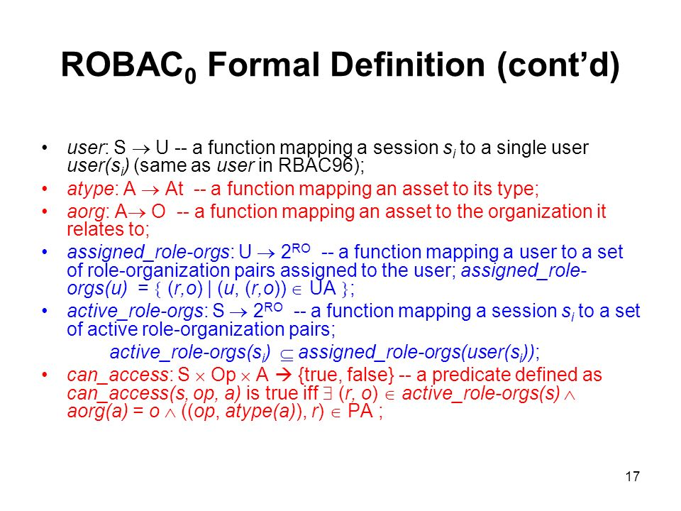 ROBAC0 Formal Definition (cont'd)