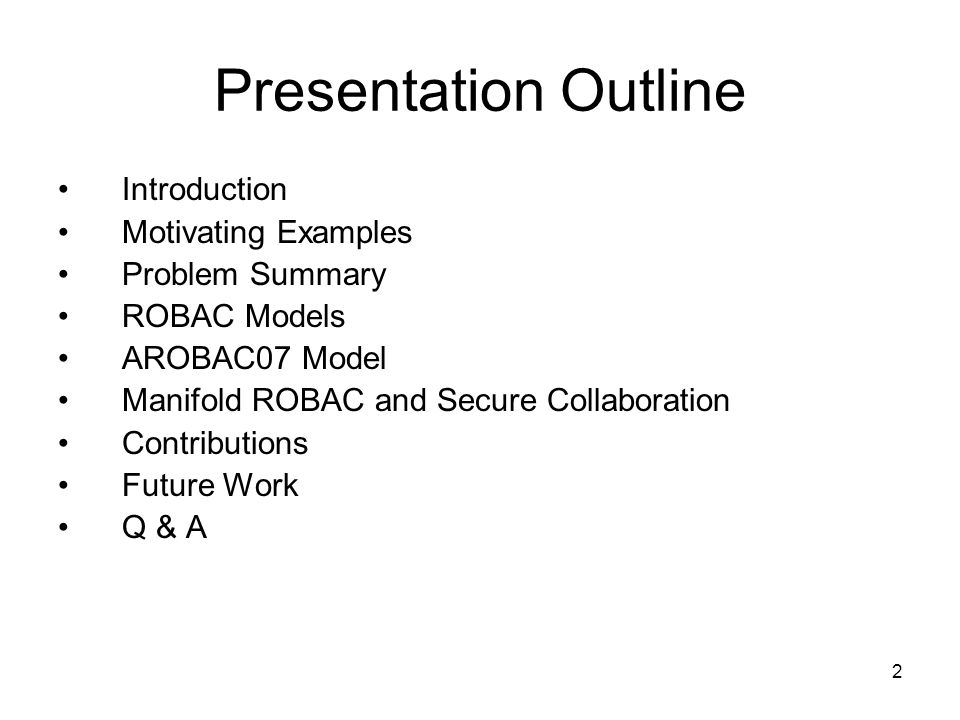 Presentation Outline Introduction Motivating Examples Problem Summary