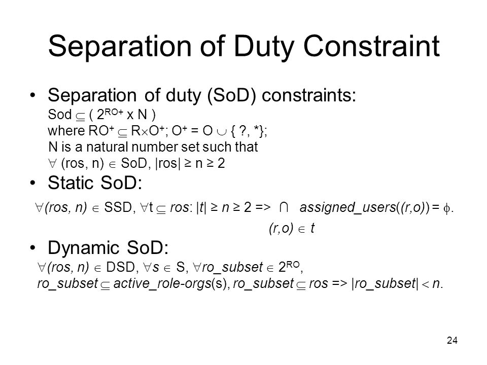 Separation of Duty Constraint
