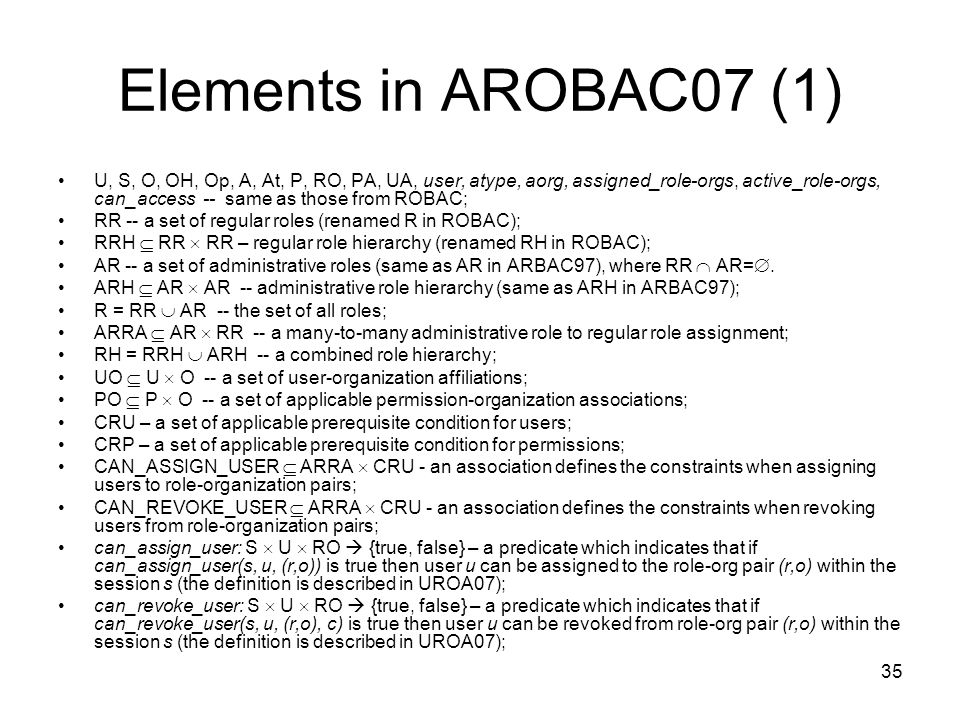 Elements in AROBAC07 (1)