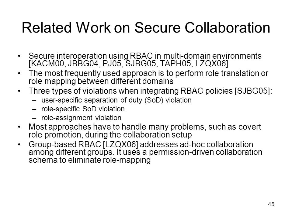 Related Work on Secure Collaboration