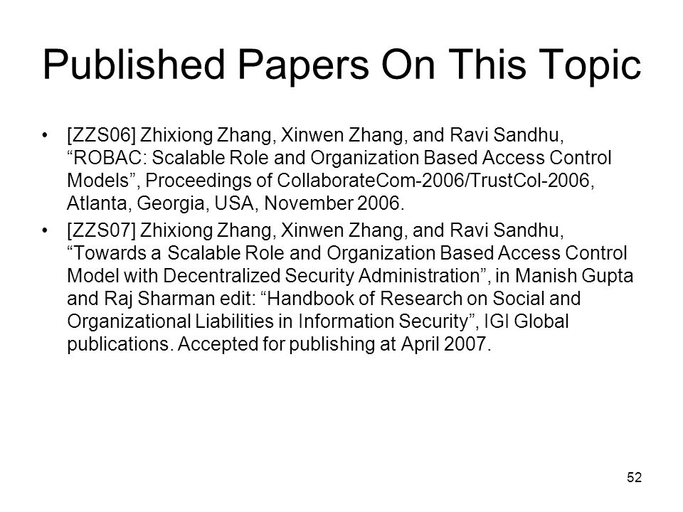 Published Papers On This Topic