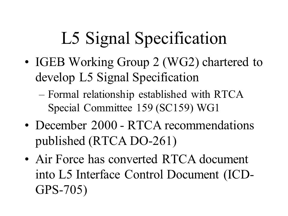 L5 Signal Specification