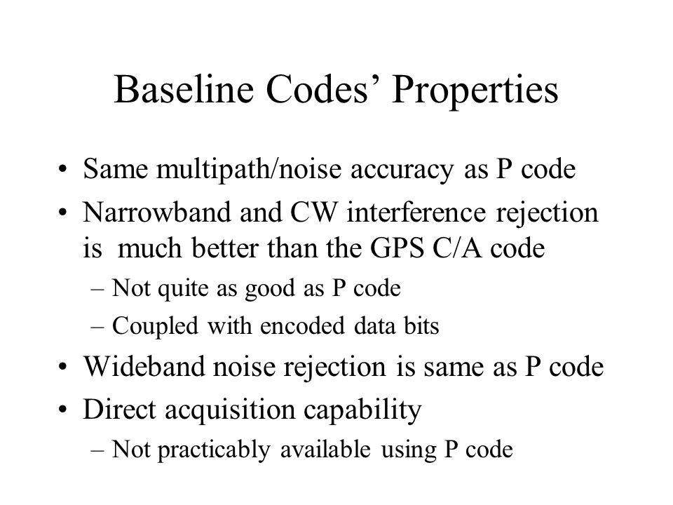 Baseline Codes' Properties