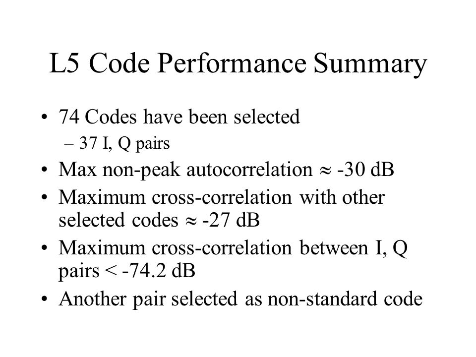 L5 Code Performance Summary