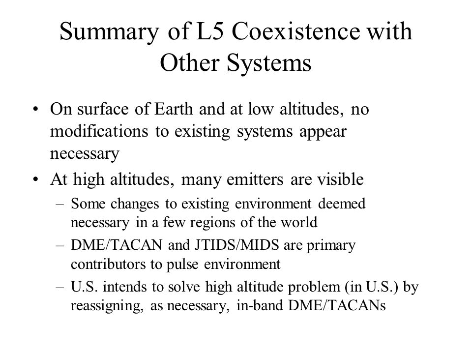 Summary of L5 Coexistence with Other Systems