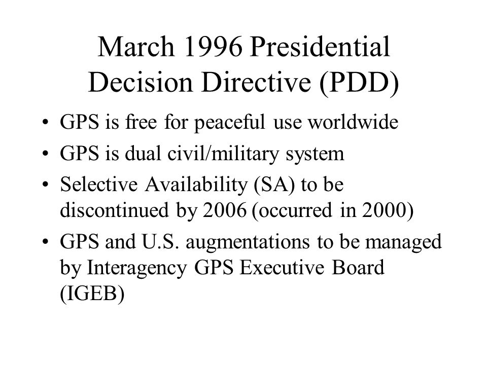 March 1996 Presidential Decision Directive (PDD)