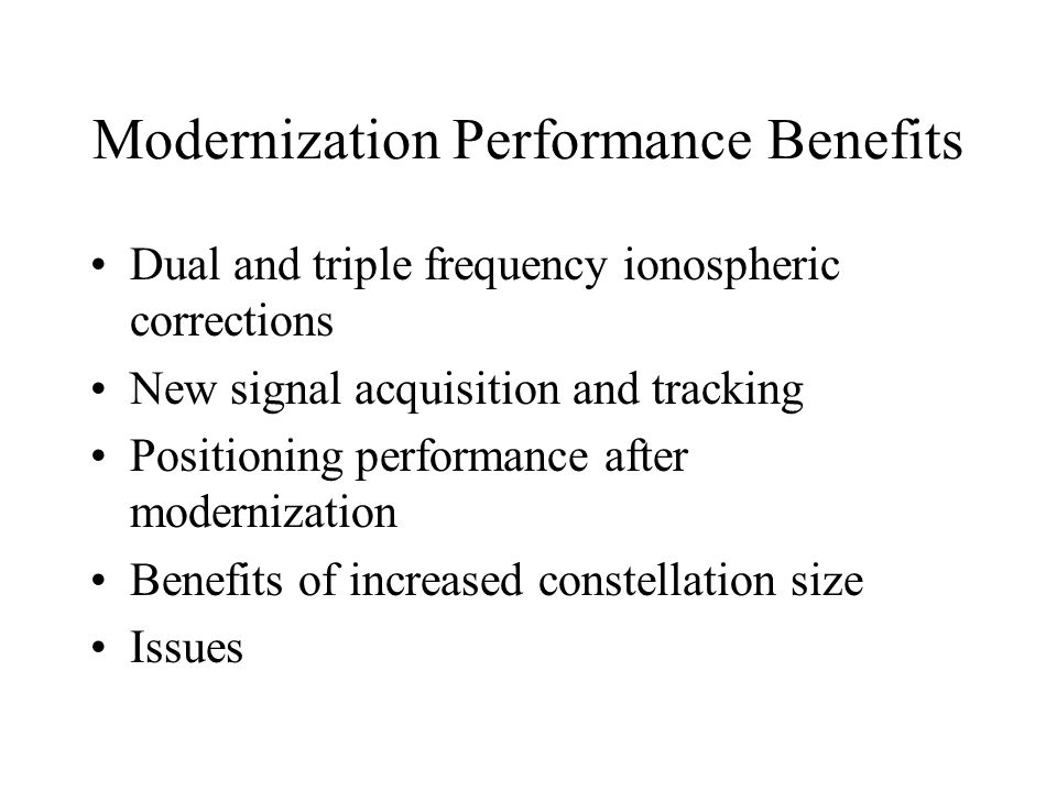 Modernization Performance Benefits