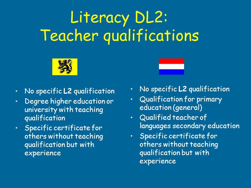 Literacy DL2: Teacher qualifications