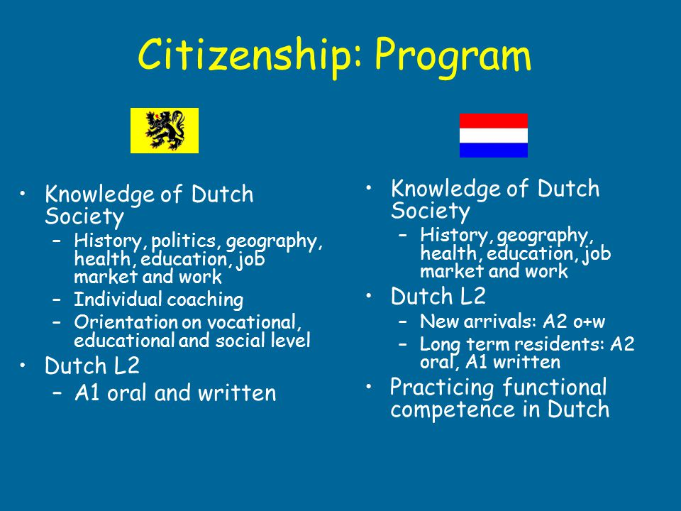Citizenship: Program Knowledge of Dutch Society