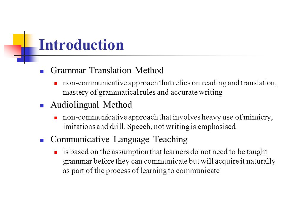 Introduction Grammar Translation Method Audiolingual Method