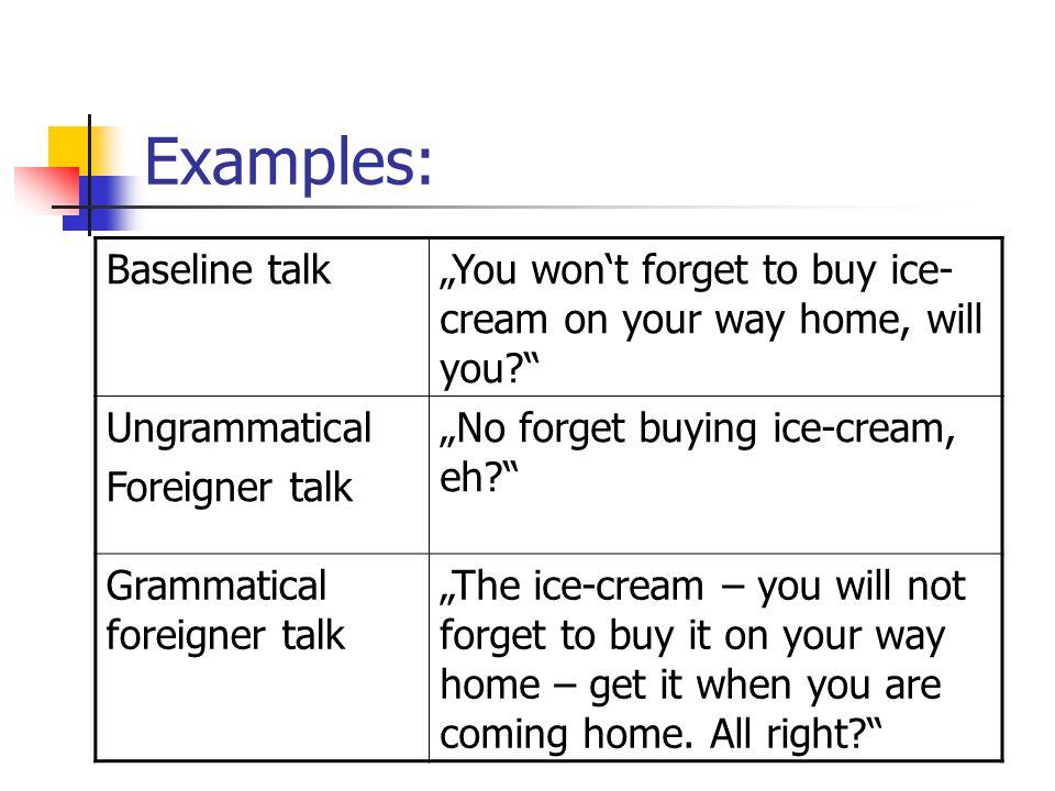Examples: Baseline talk