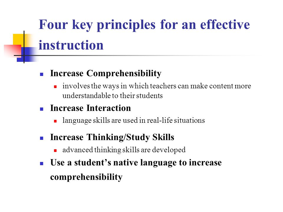 Four key principles for an effective instruction