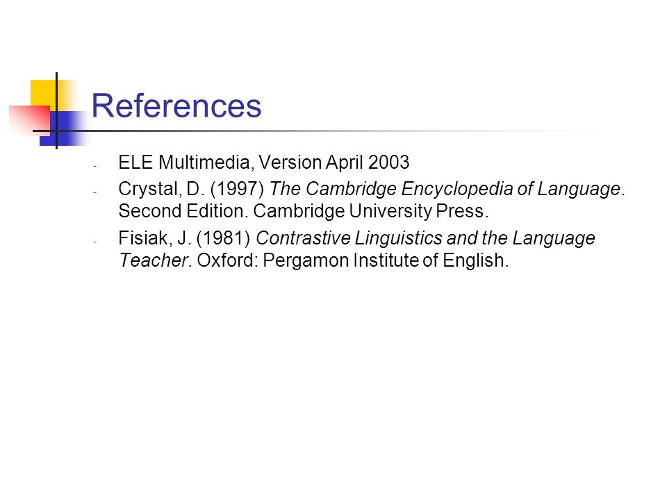 References ELE Multimedia, Version April 2003