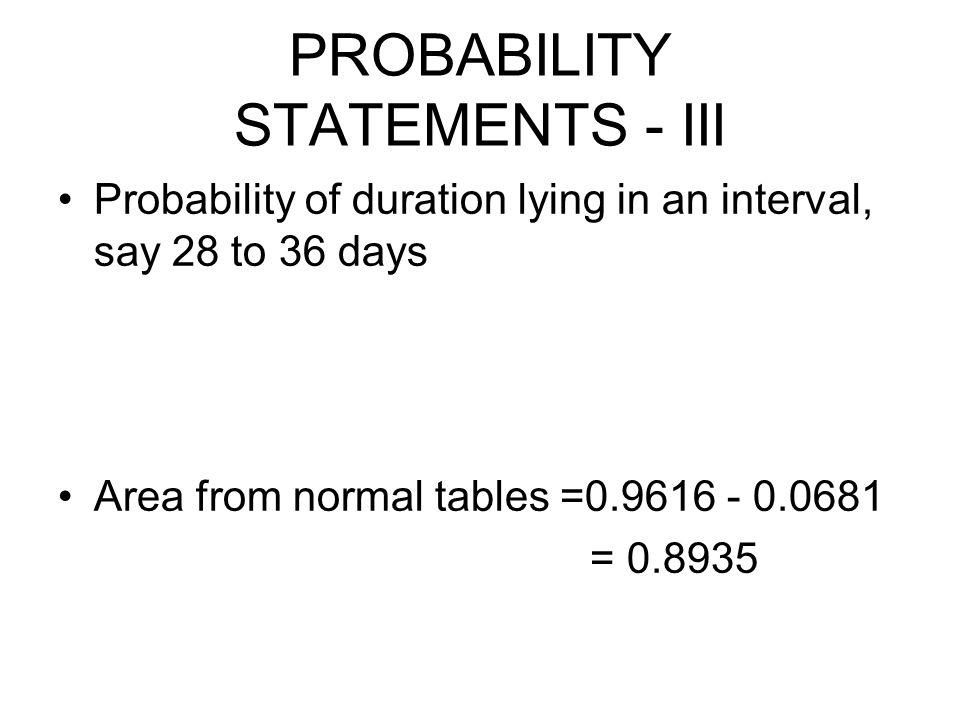PROBABILITY STATEMENTS - III