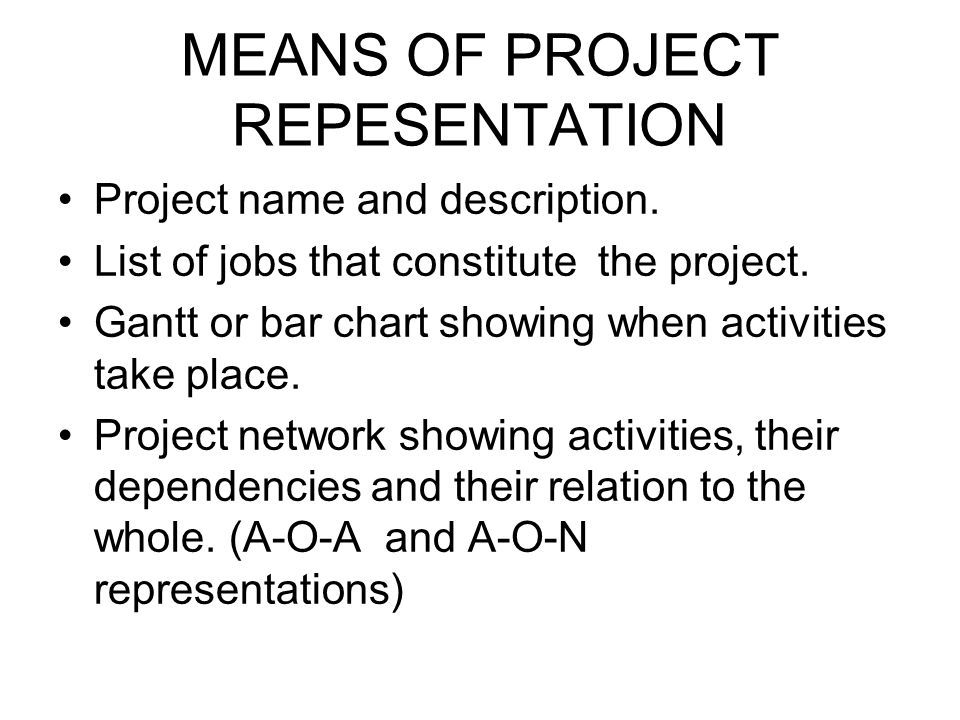 MEANS OF PROJECT REPESENTATION