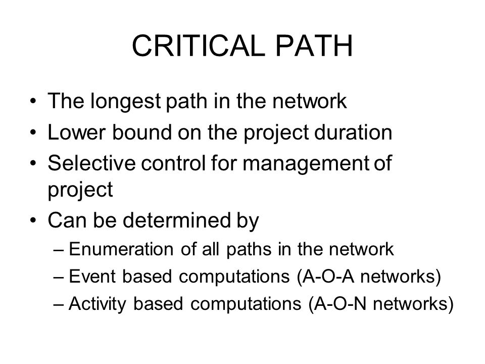 CRITICAL PATH The longest path in the network