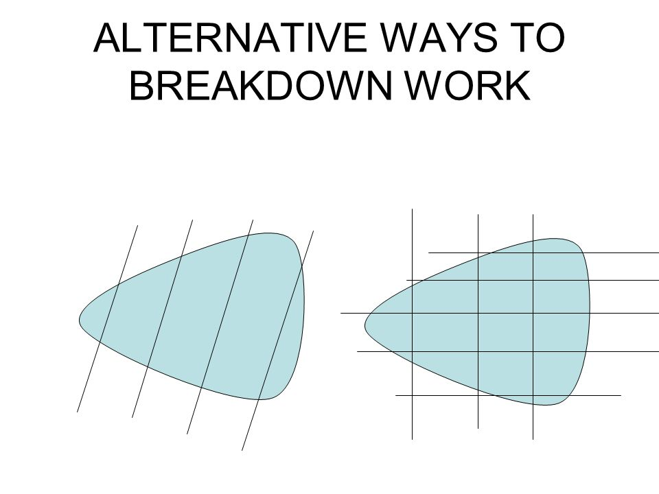 ALTERNATIVE WAYS TO BREAKDOWN WORK