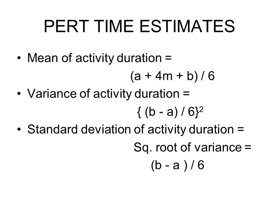 PERT TIME ESTIMATES Mean of activity duration = (a + 4m + b) / 6
