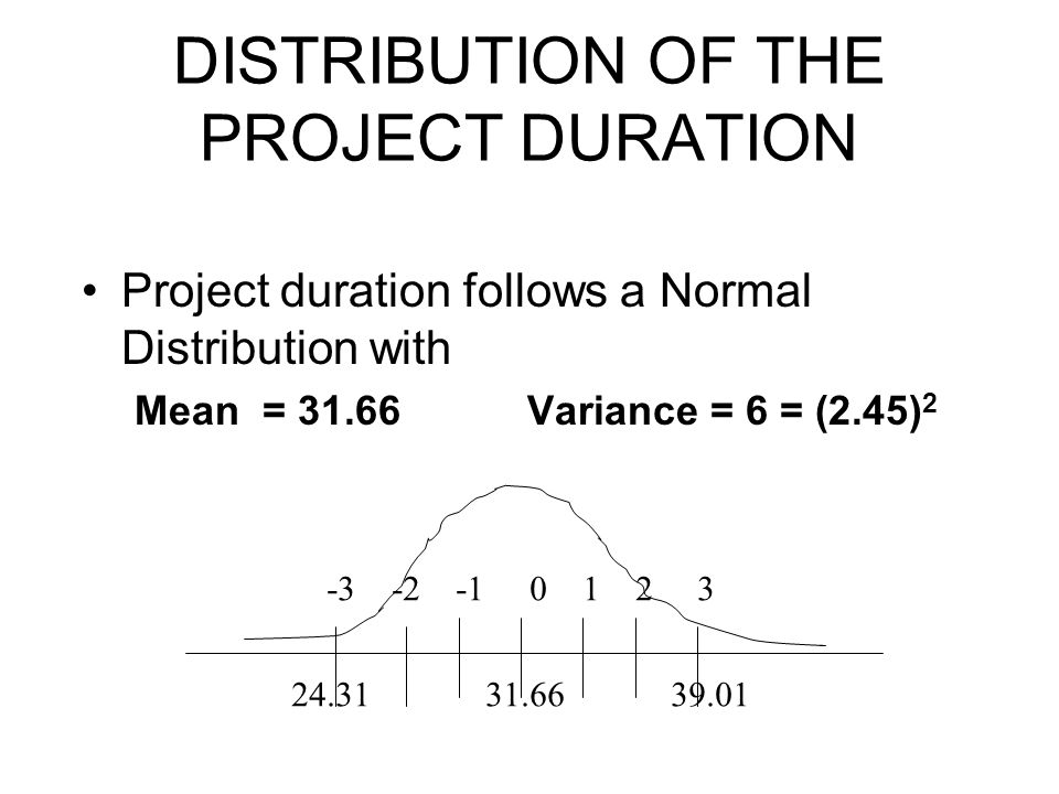 DISTRIBUTION OF THE PROJECT DURATION