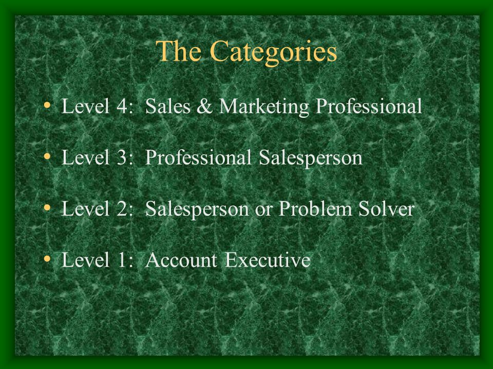 The Categories Level 4: Sales & Marketing Professional