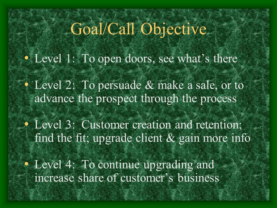 Goal/Call Objective Level 1: To open doors, see what's there