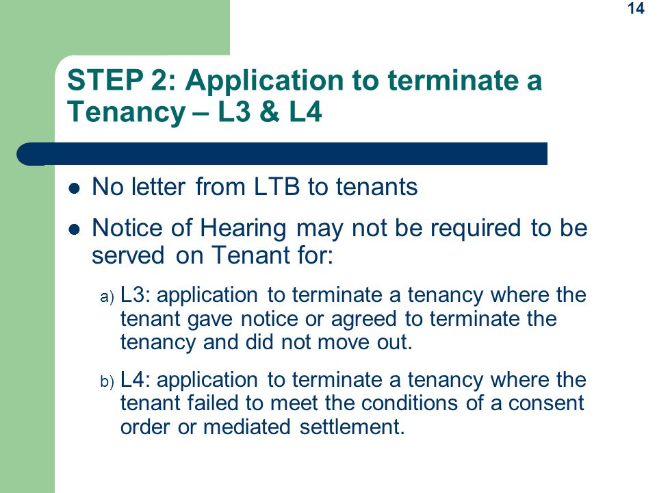 STEP 2: Application to terminate a Tenancy – L3 & L4