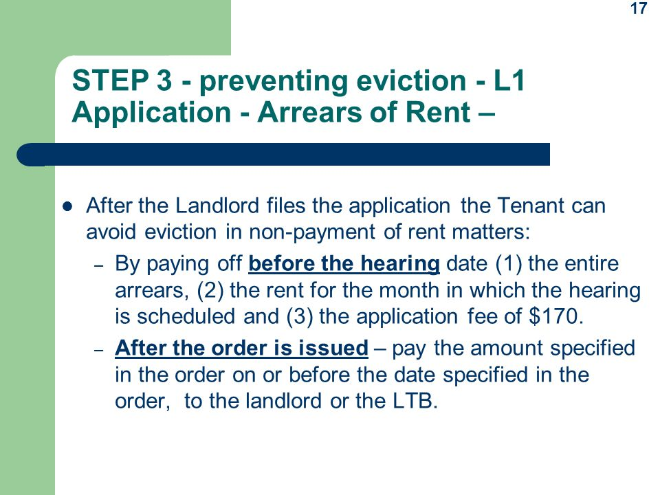STEP 3 - preventing eviction - L1 Application - Arrears of Rent –