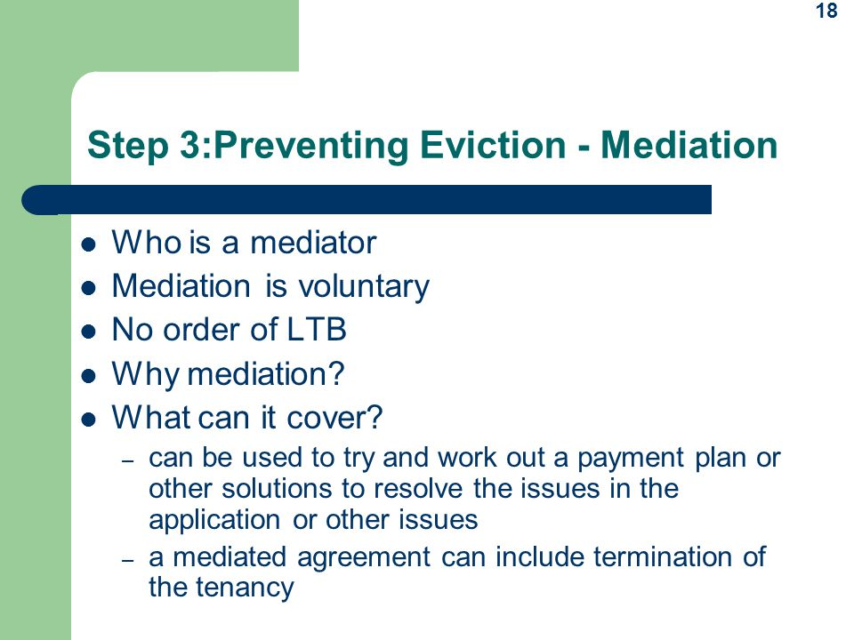 Step 3:Preventing Eviction - Mediation