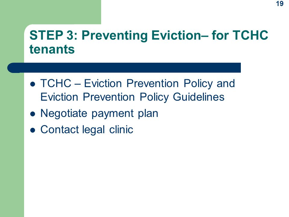 STEP 3: Preventing Eviction– for TCHC tenants