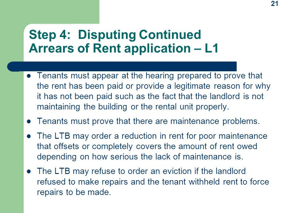 Step 4: Disputing Continued Arrears of Rent application – L1