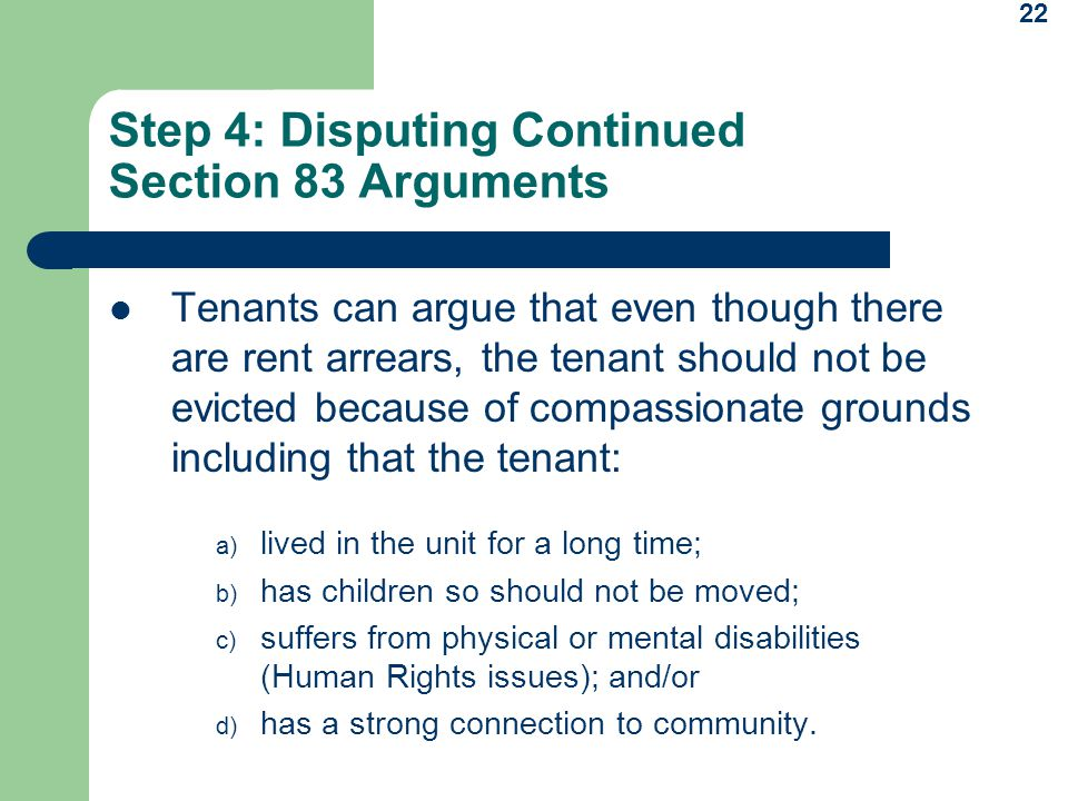 Step 4: Disputing Continued Section 83 Arguments