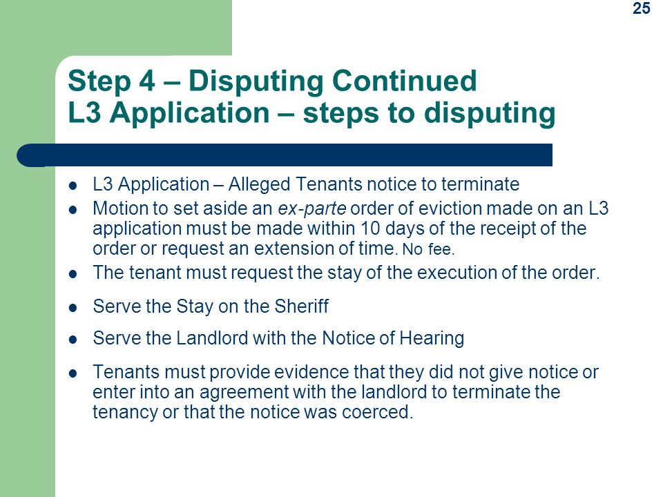 Step 4 – Disputing Continued L3 Application – steps to disputing