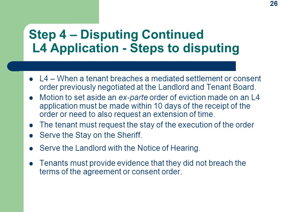 Step 4 – Disputing Continued L4 Application - Steps to disputing