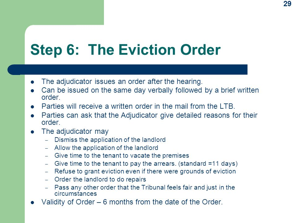 Step 6: The Eviction Order