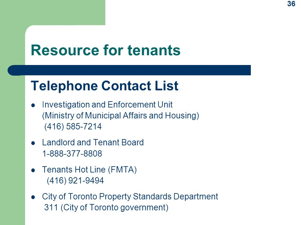 Resource for tenants Telephone Contact List