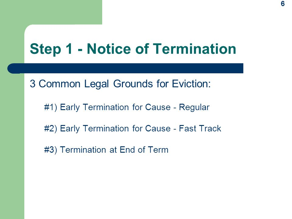 Step 1 - Notice of Termination